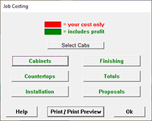 Job Costing: Main Screen